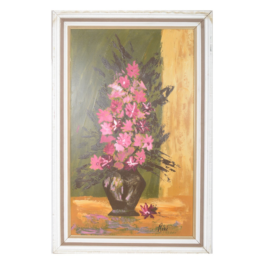 René Oil on Board Still Life Painting