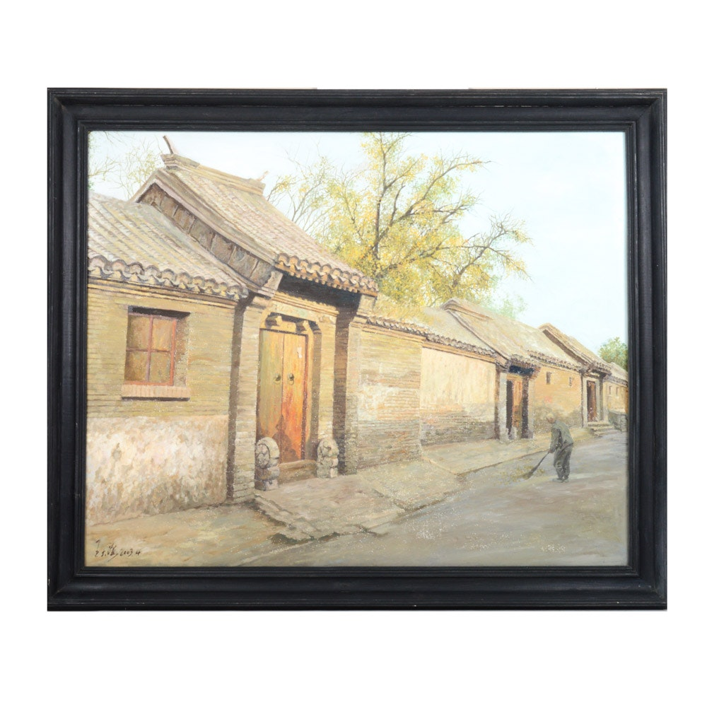 Wang Dalong Oil on Canvas Chinese Genre Painting