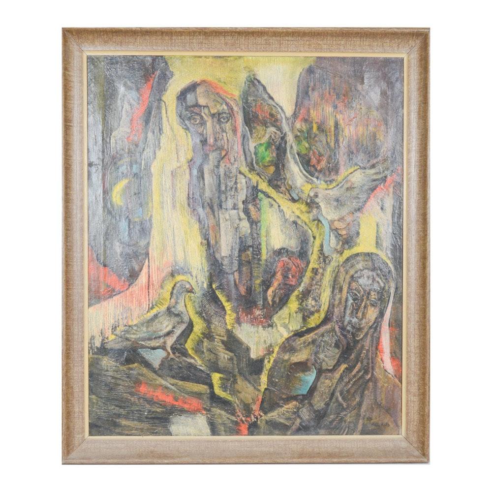 "Hilda Katz Expressionist Style Oil on Canvas Painting ""Mt. Ararat-Noah"""
