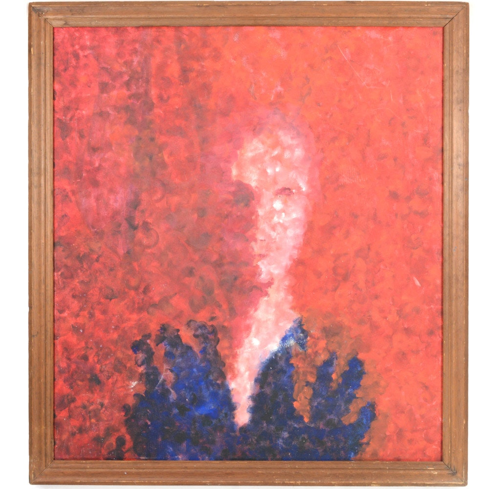 Abstract Expressionist Style Oil on Canvas Portrait Painting