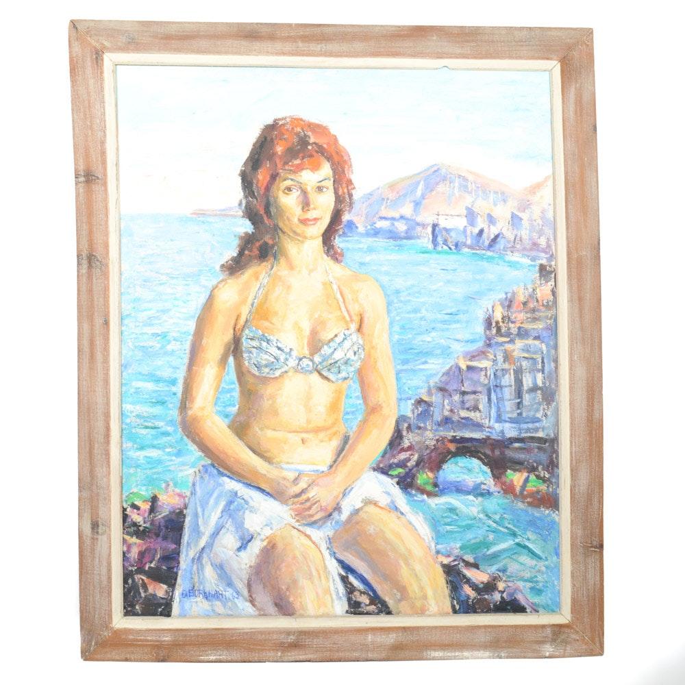 1963 Emerson Burkhart Oil on Canvas Portrait of a Woman