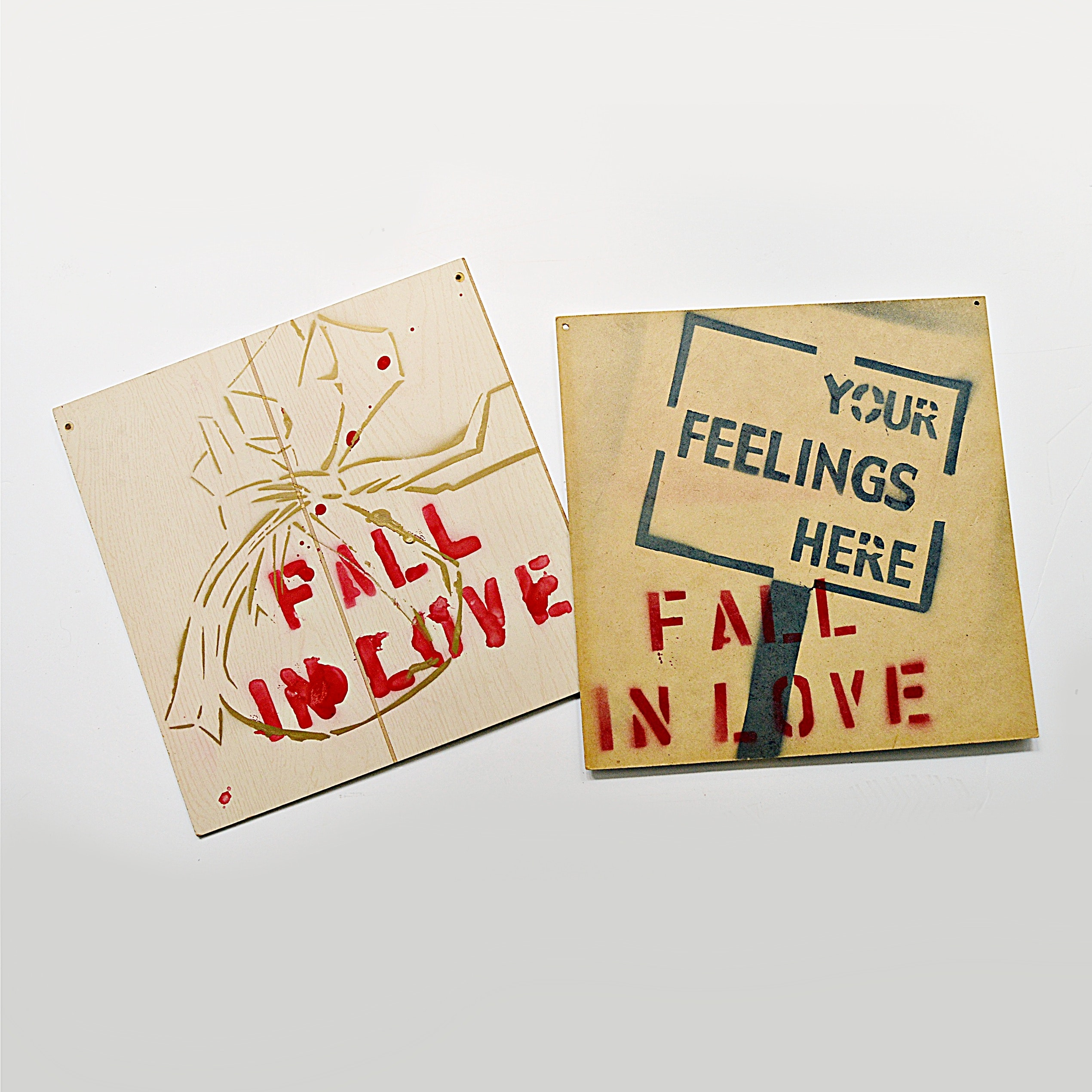 "2004 ""Fall in Love Campaign"" Stenciled Paintings on Board"