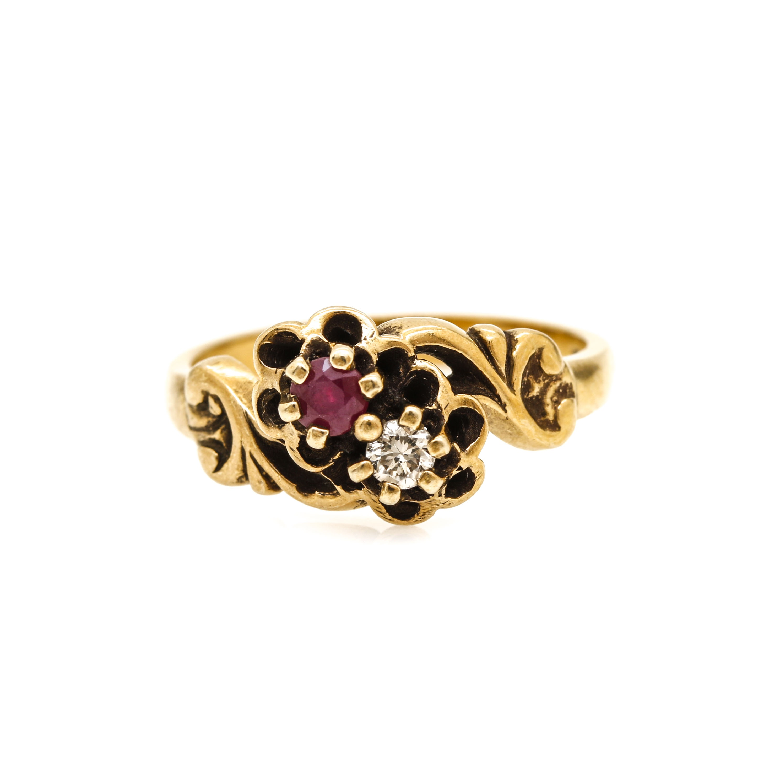 Early 1900's 14K Yellow Gold Diamond and Ruby Toi et Moi Ring