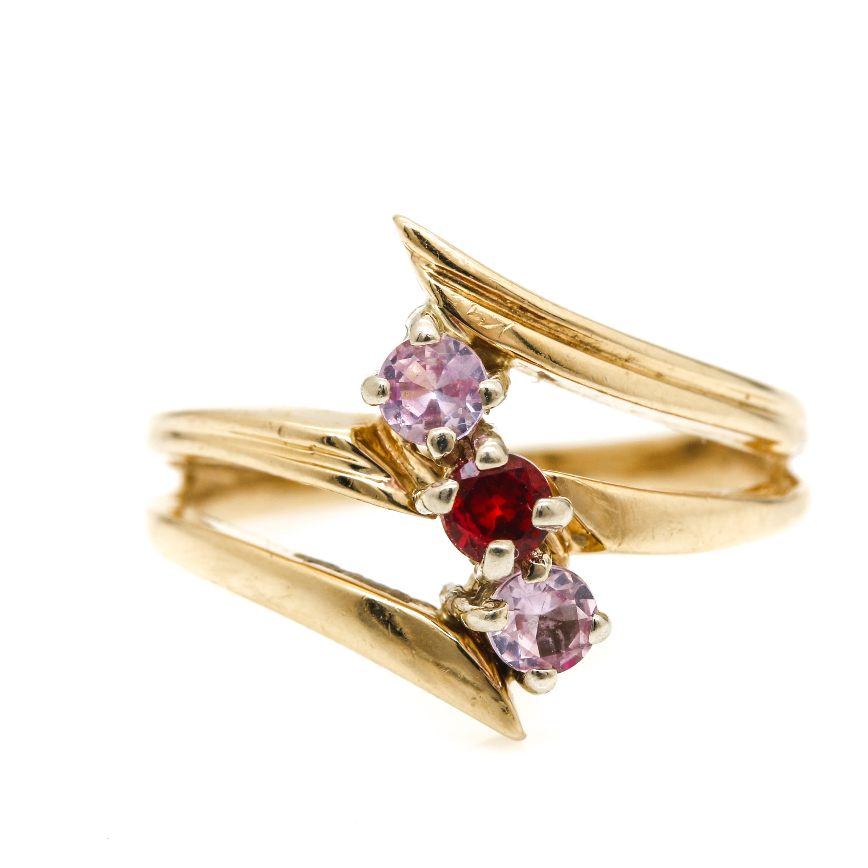 14K Yellow Gold Ruby and Pink Sapphire Ring