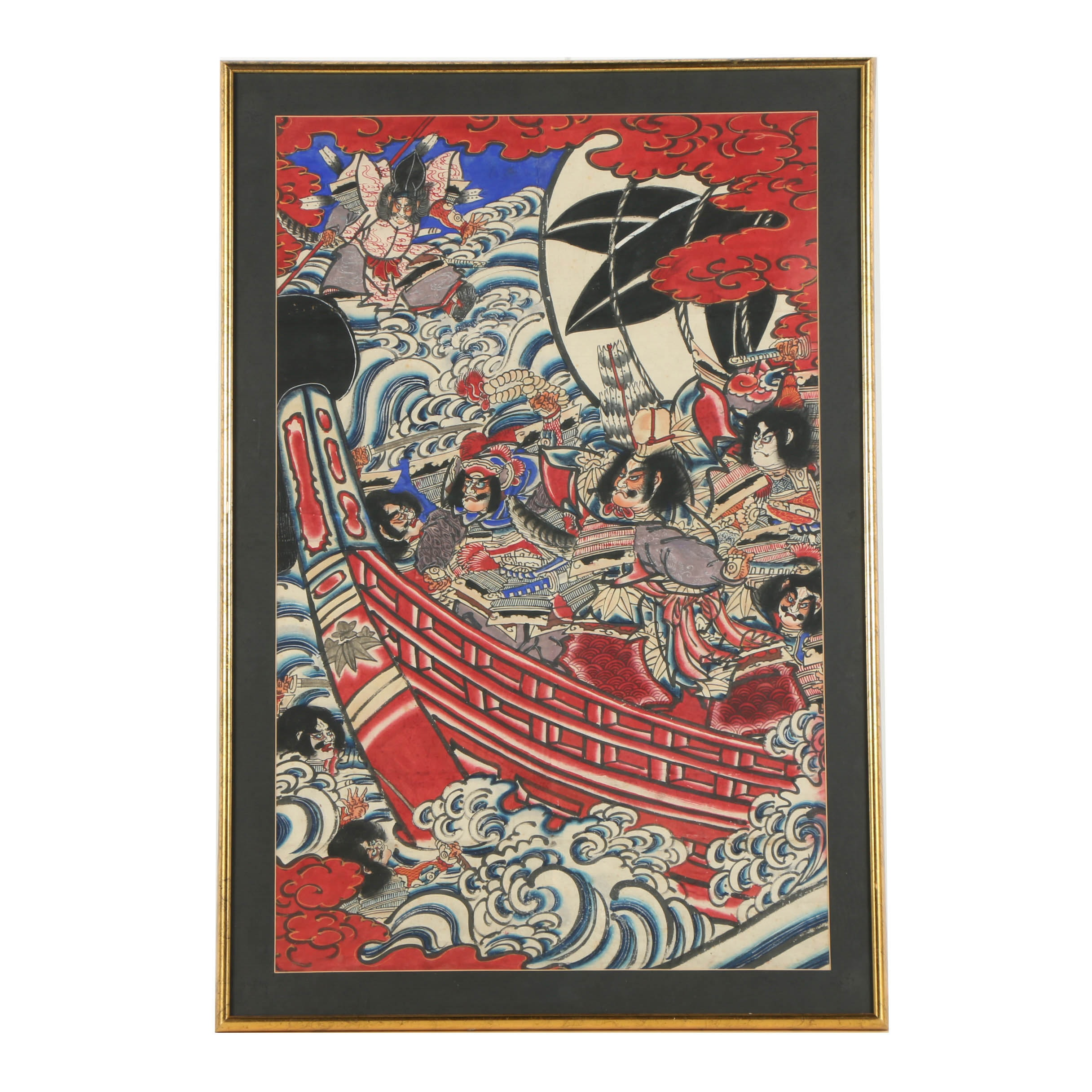 Japanese Watercolor Painting on Rice Paper of Theatrical Battle Scene