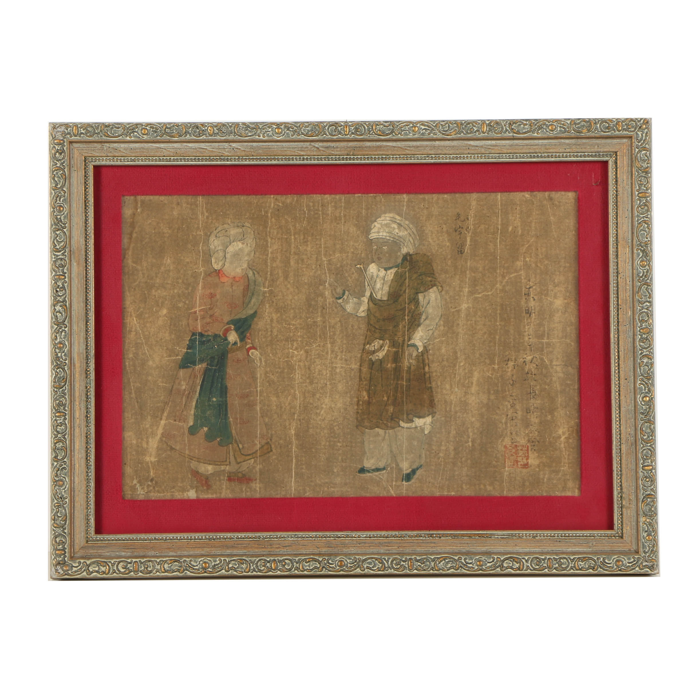Antique Japanese Woodblock Print on Paper of Two Figures