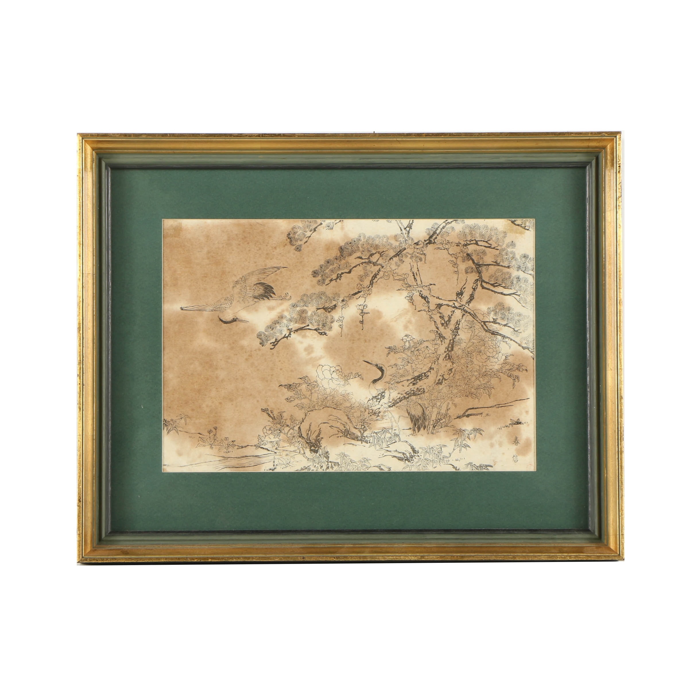 Japanese Woodblock on Paper with Cranes