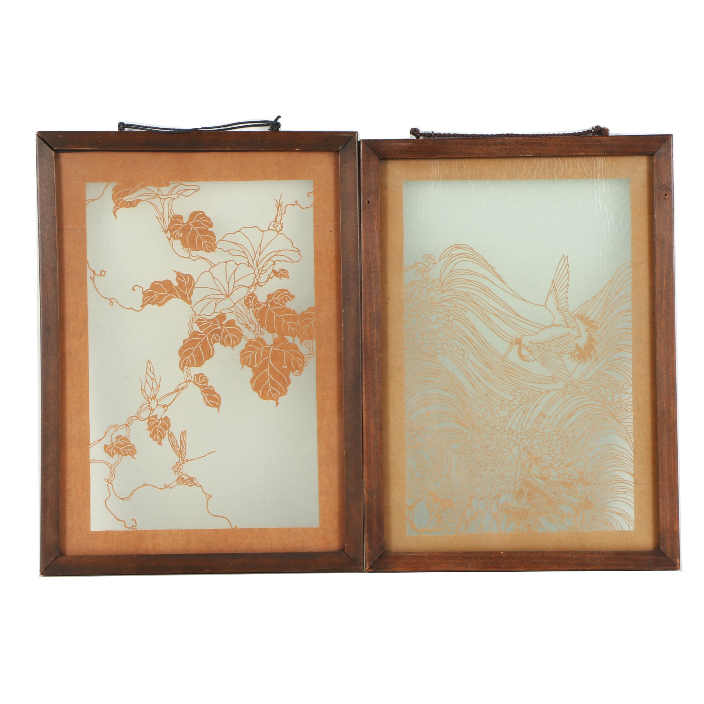 Pair of Japanese Kirigami Paper Cutout Compositions of Nature Scenes