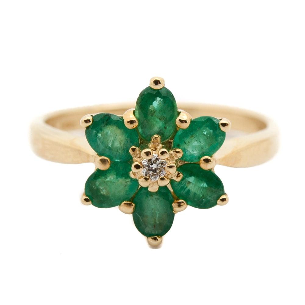 14K Yellow Gold Emerald and Diamond Flower Ring