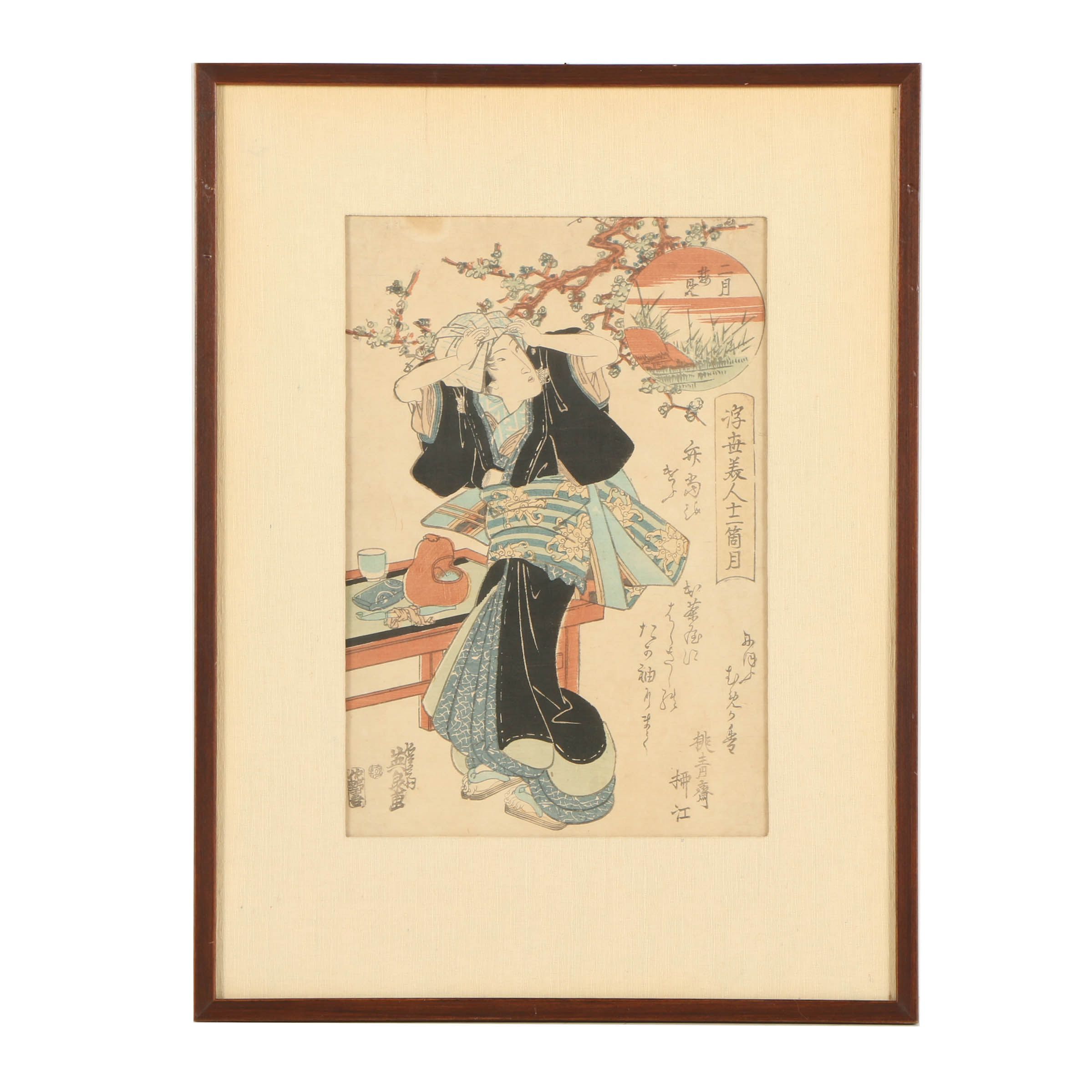 """Keisai Eisen Woodblock Print """"Plum Viewing in the Second Month"""""""