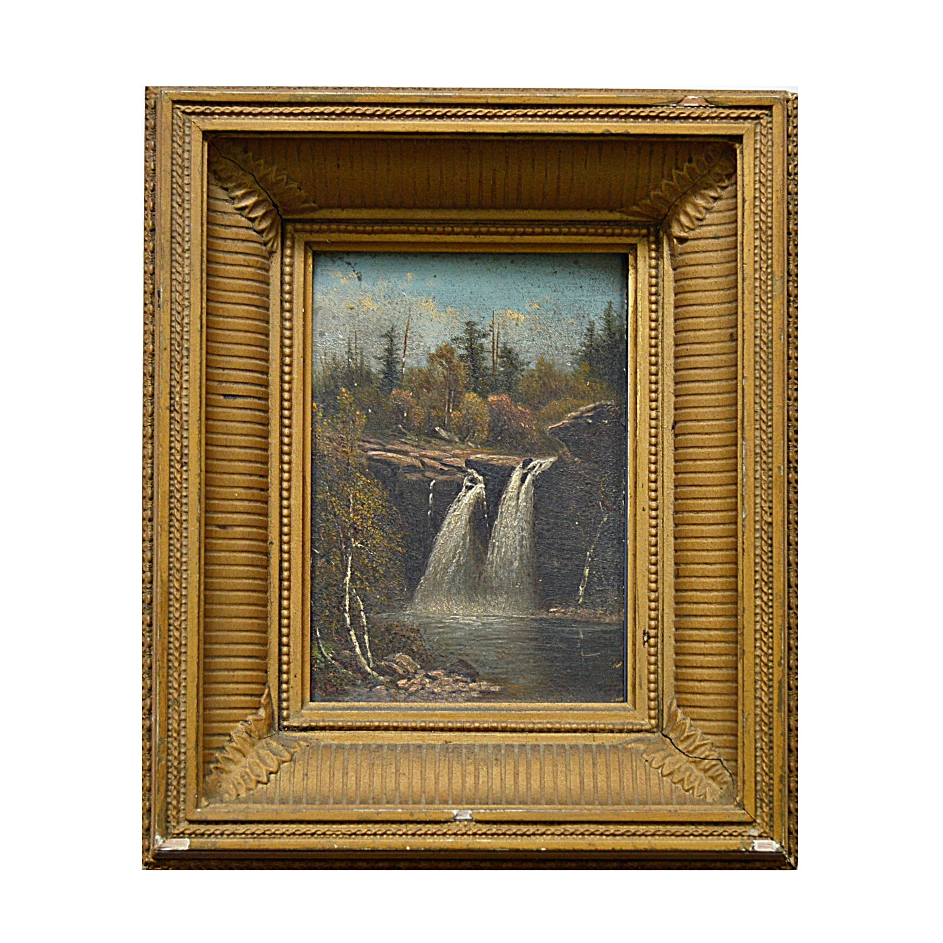 T.C. Lindsay 19th Century Oil on Canvas Landscape with Twin Waterfalls