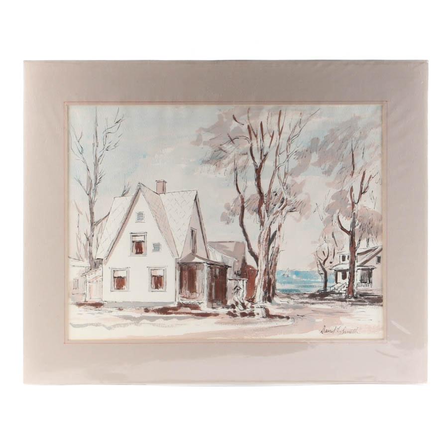 "David L. Smith Watercolor on Paper ""Landscape #63"""
