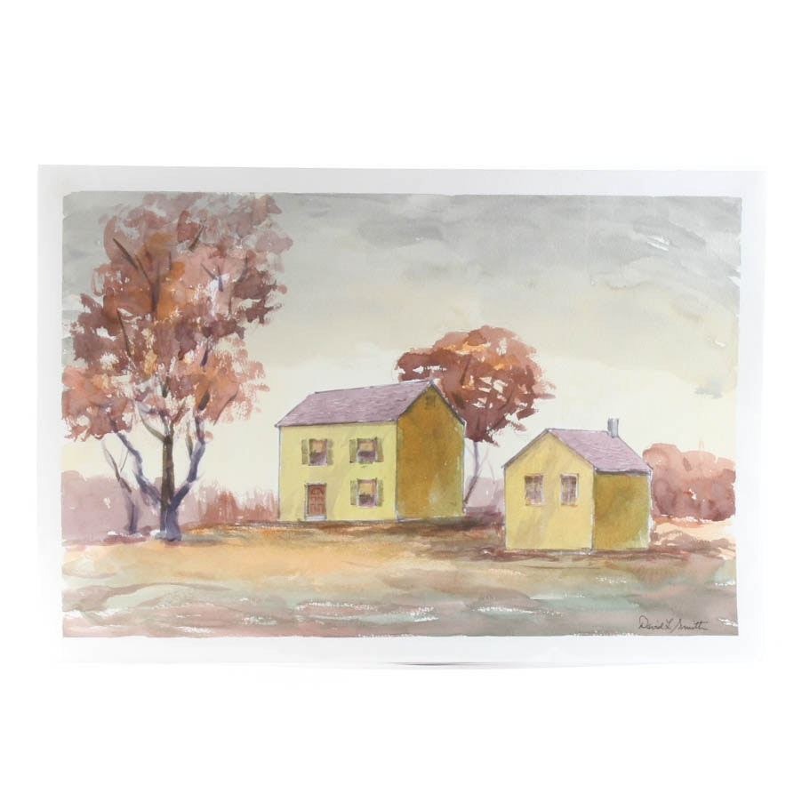 """David L. Smith Watercolor on Paper """"Buildings #125"""""""