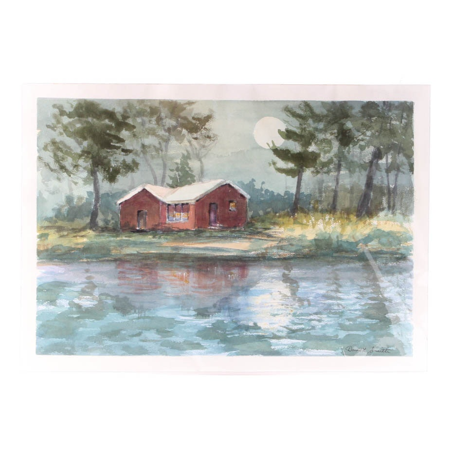 """David L. Smith Watercolor on Paper """"Moonlight on the Lake"""""""