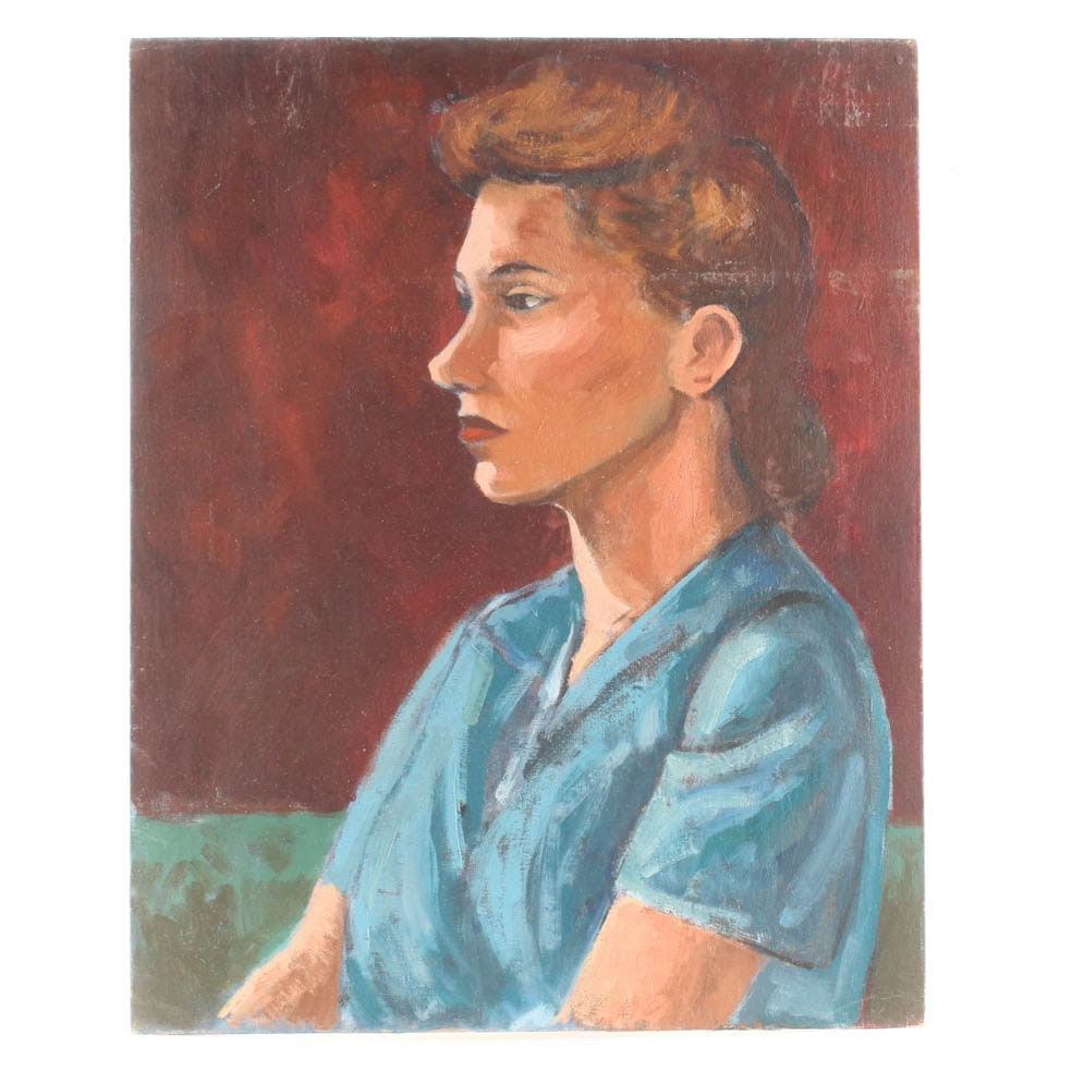 "David L. Smith Oil on Academy Board ""Young Lady in Blue Blouse #43"""