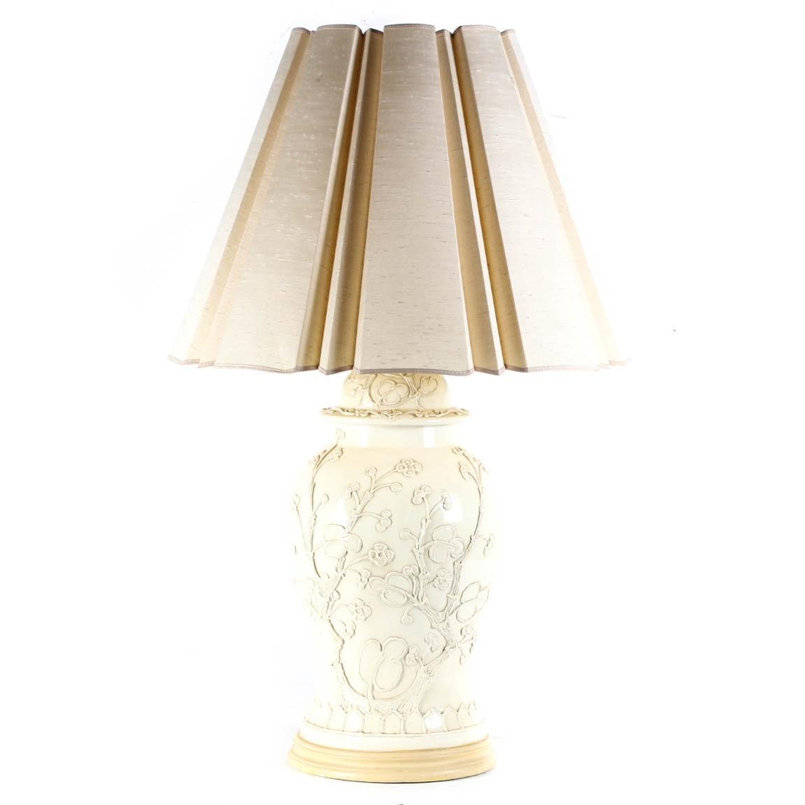 Cream Colored Chinoiserie Lamp