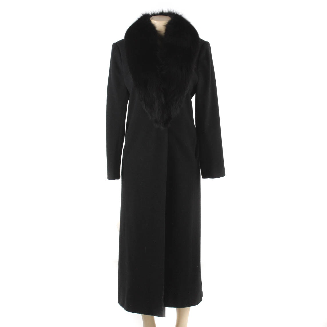 J. Percy for Marvin Richards Black Lamb's Wool Coat with Black Fox Collar