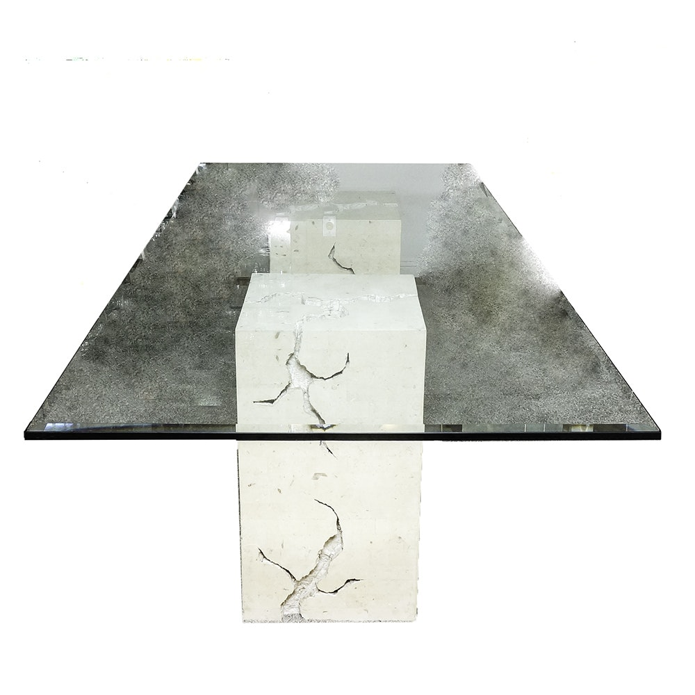 Modern Style Double Pedestal Glass Top Dining Table