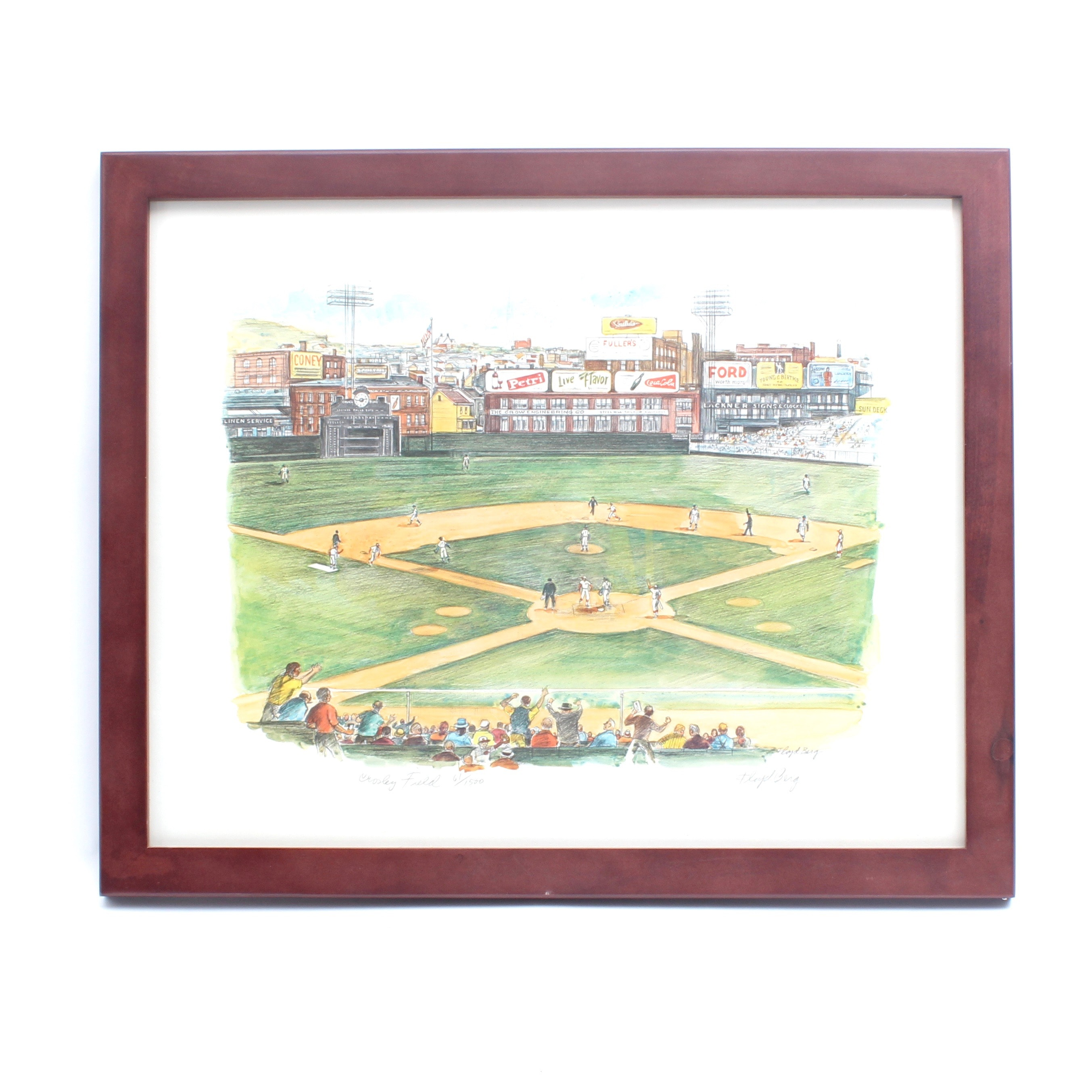 "Signed Floyd Berg Limited Edition Offset Lithograph ""Crosley Field"""