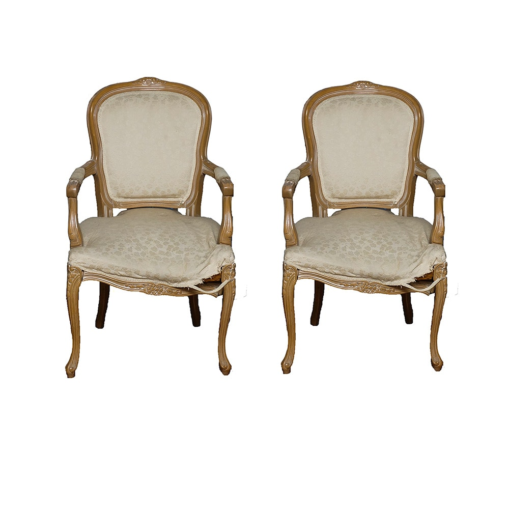 Pair of Louis XV Fauteuils with Beech Frames by Chateau D'Ax Spa