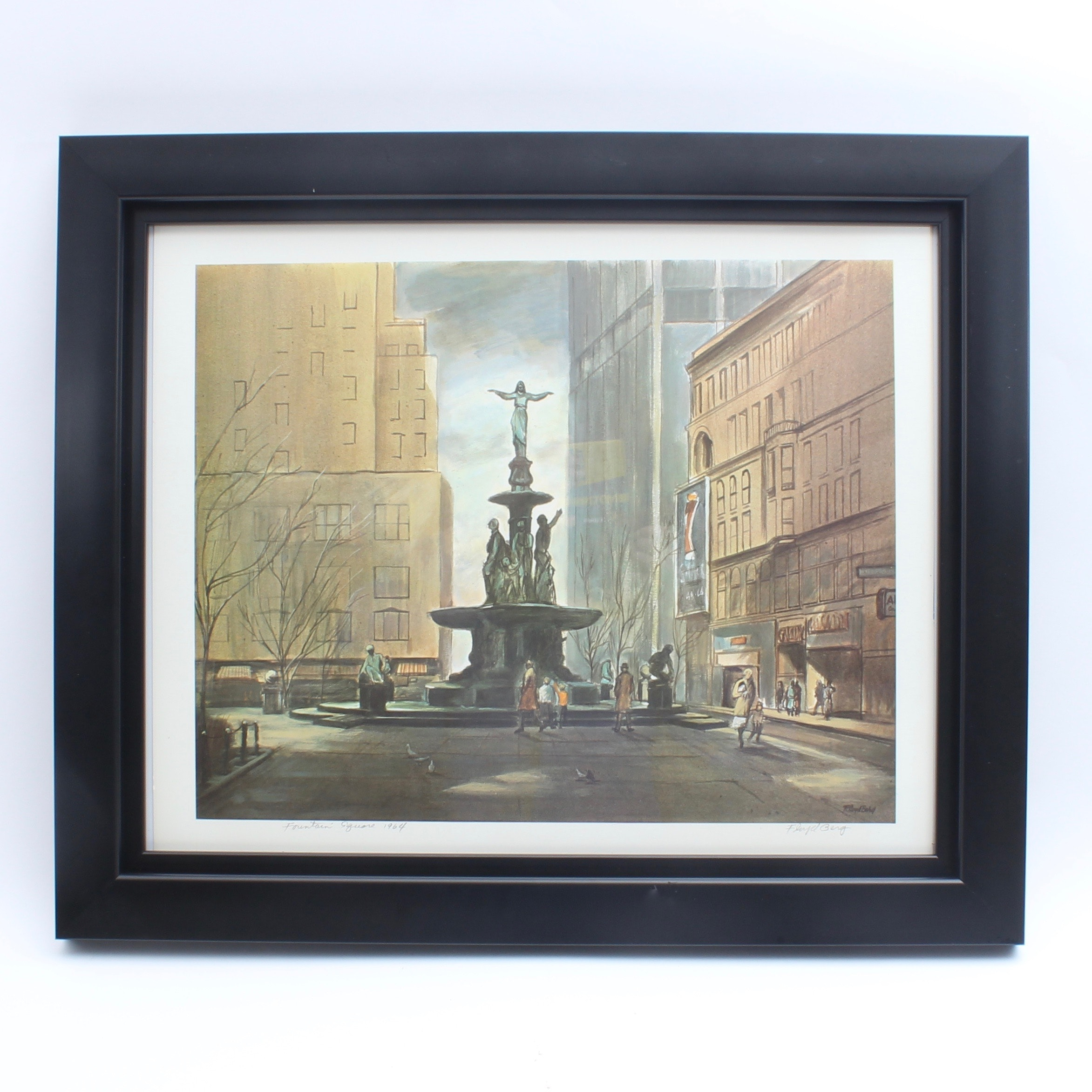 "Signed Floyd Berg Offset Lithograph ""Fountain Square"""