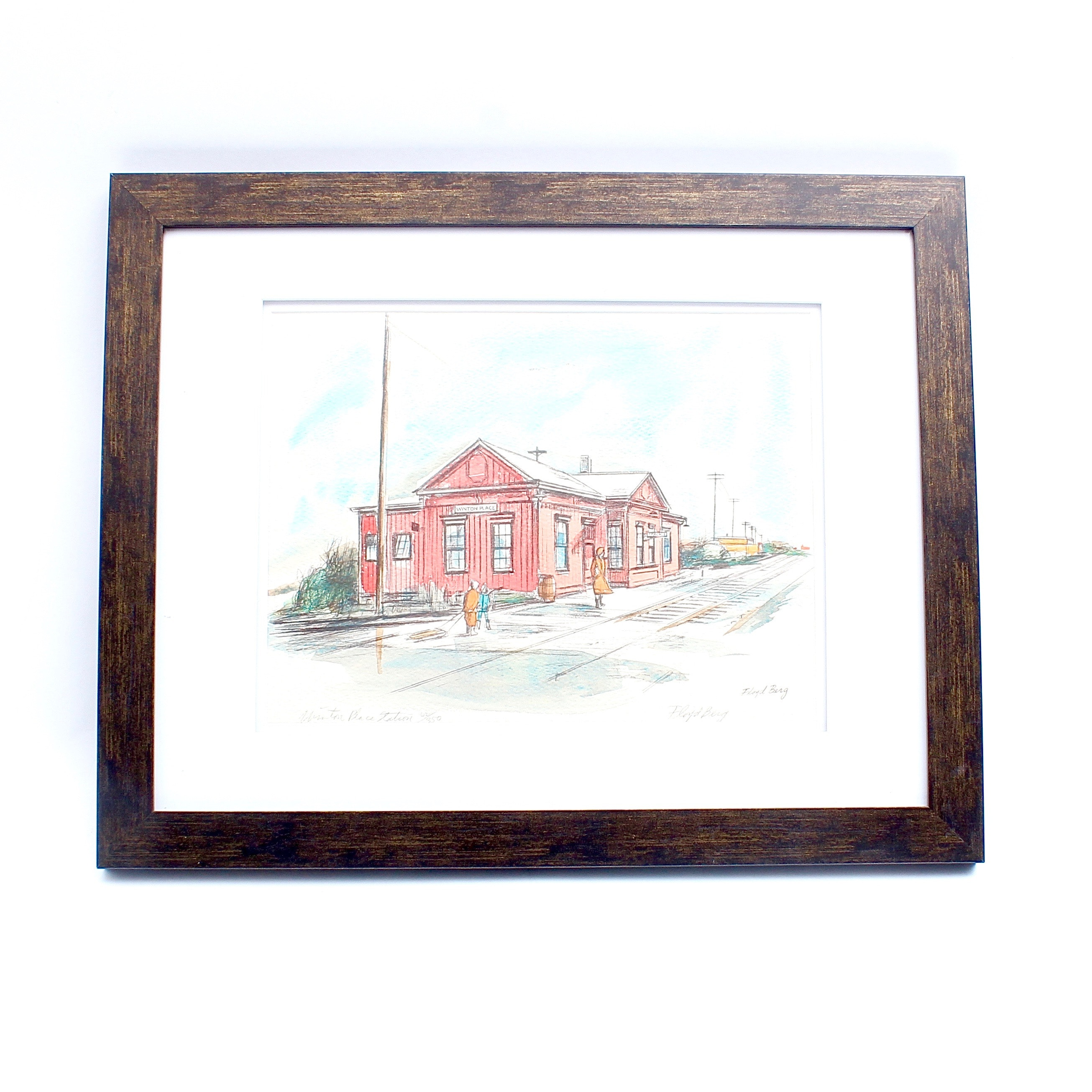 """Signed Floyd Berg Limited Edition Lithograph """"Winton Place Station"""""""