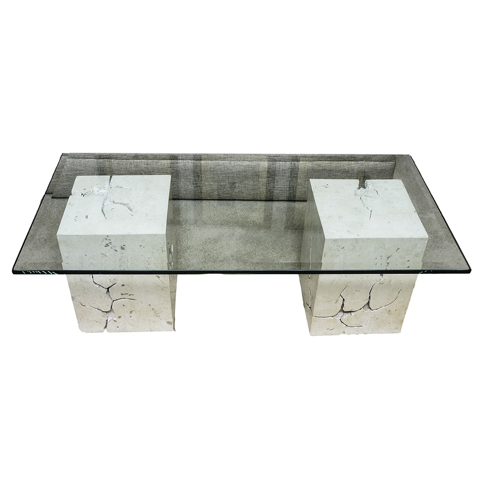 Modern Style Double Pedestal Glass Topped Coffee Table