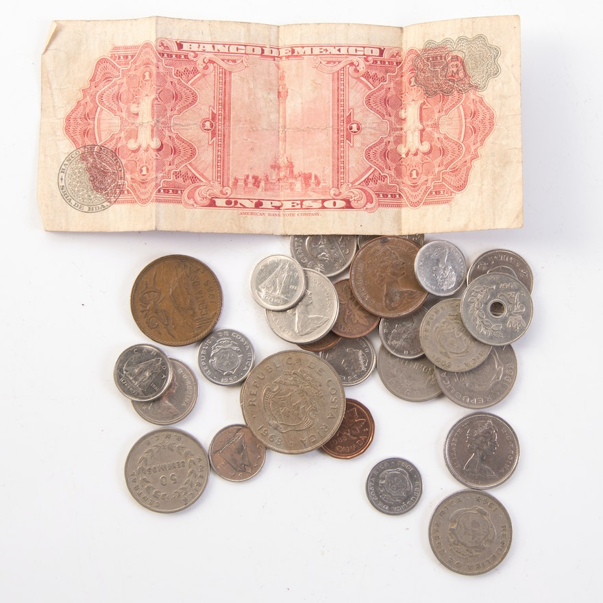 Foreign Coins and Mexican Peso Bill