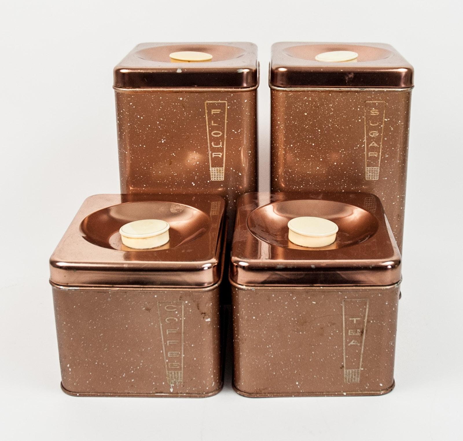 Four Copper Lincoln Beautyware Storage Bins
