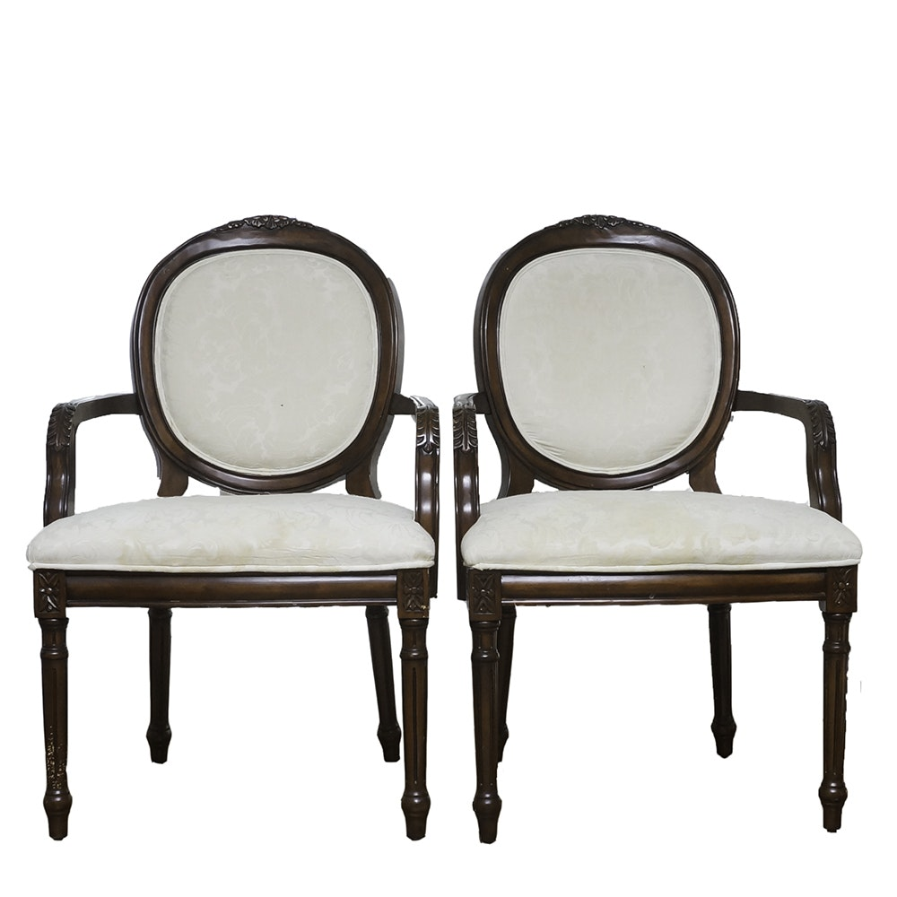 Pair of Victorian Style Upholstered Balloon Back Chairs