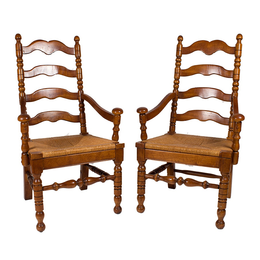 French Provincial Style Armchairs with Cane Seating