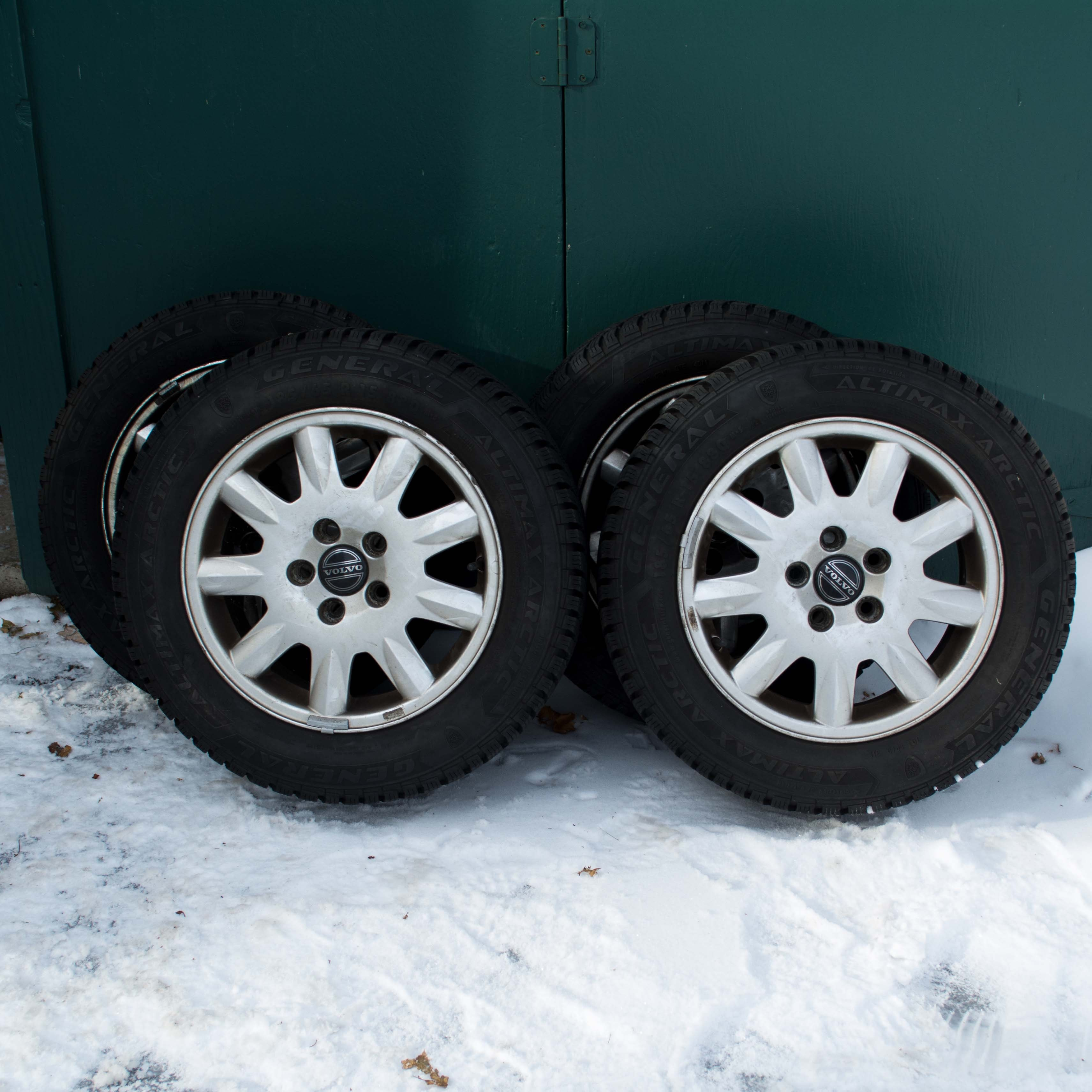 Four General Altimax Artic Winter Tires and Volvo Wheels