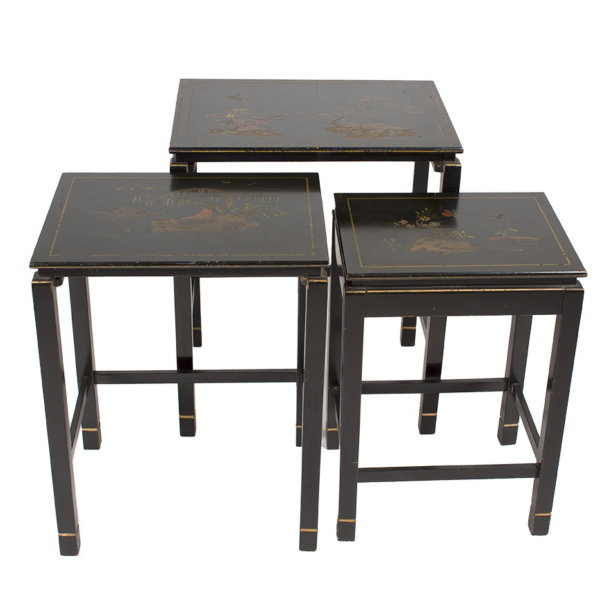 Vintage Chinoiserie Black Nesting Tables