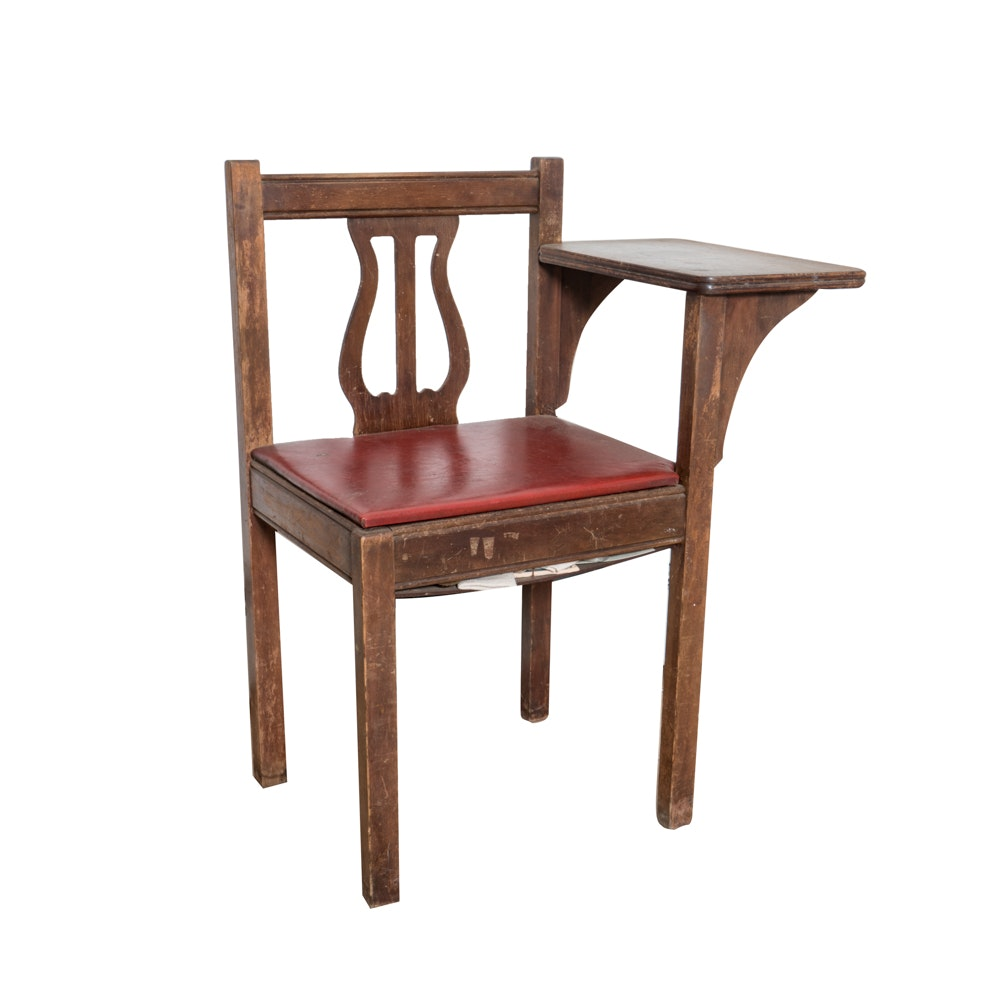 Lyre Back Telephone Chair with Storage in Seat