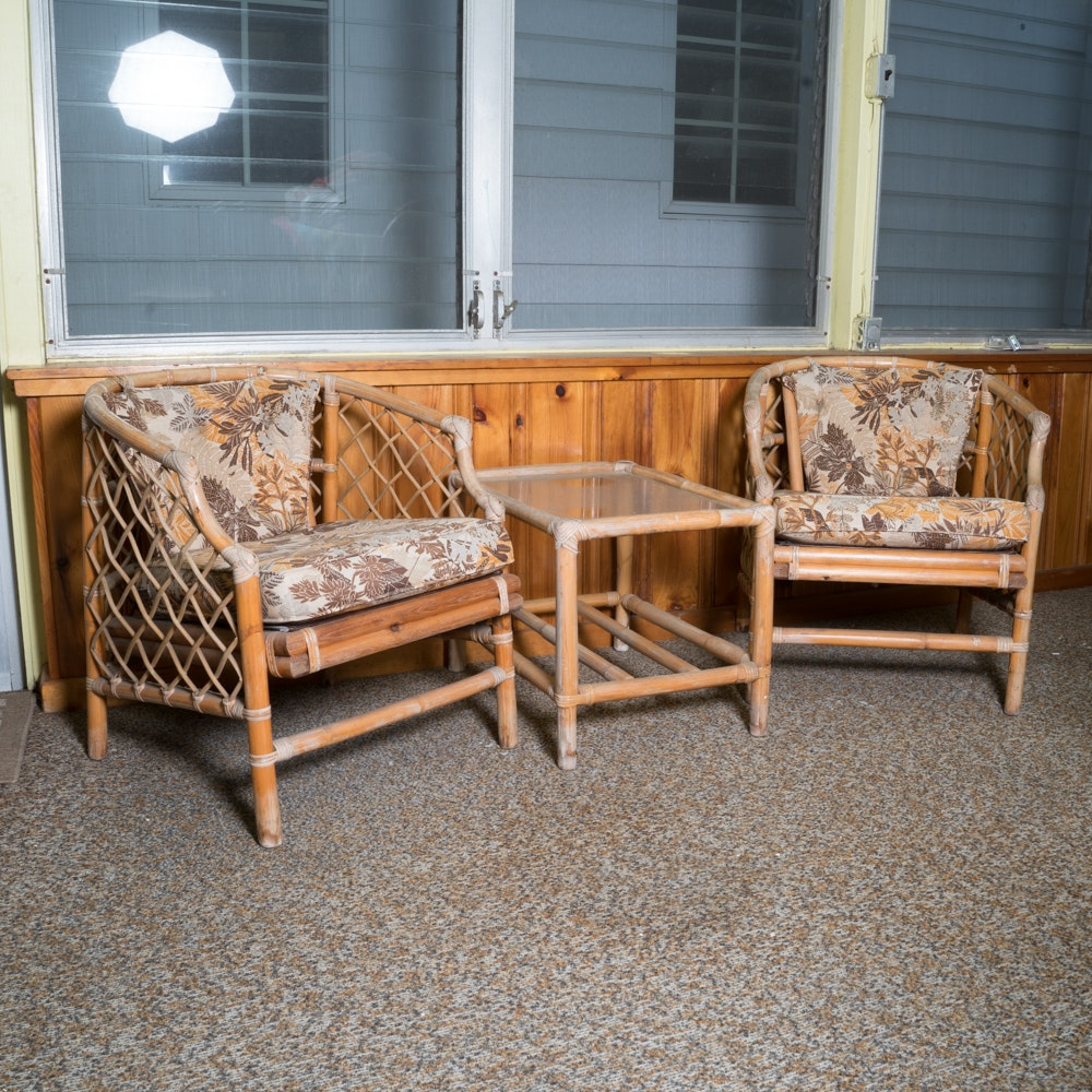Pair of Rattan Armchairs with Accent Table