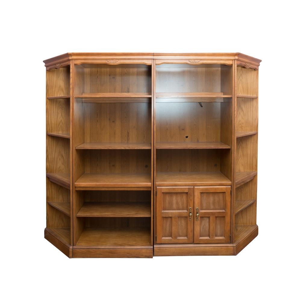 Oak Bookshelf and Cabinet