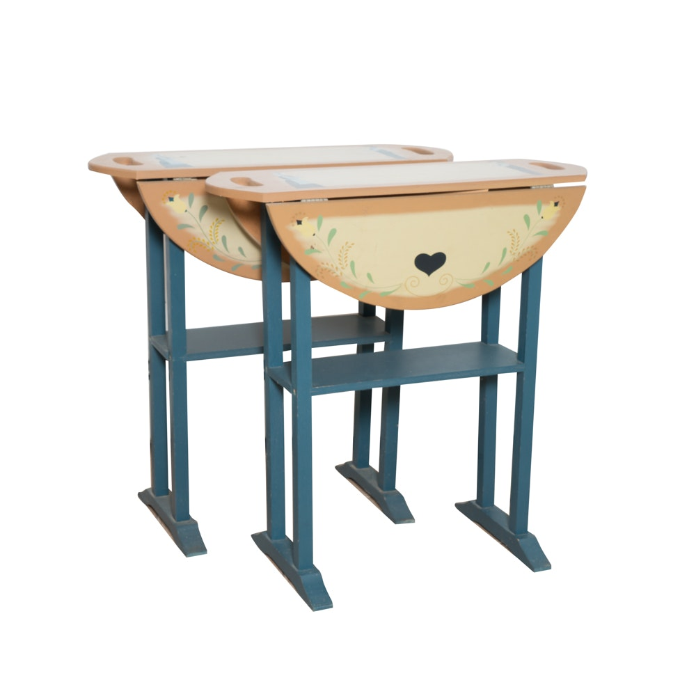 Folk Art Painted Drop Leaf Accent Tables with Amish Motif