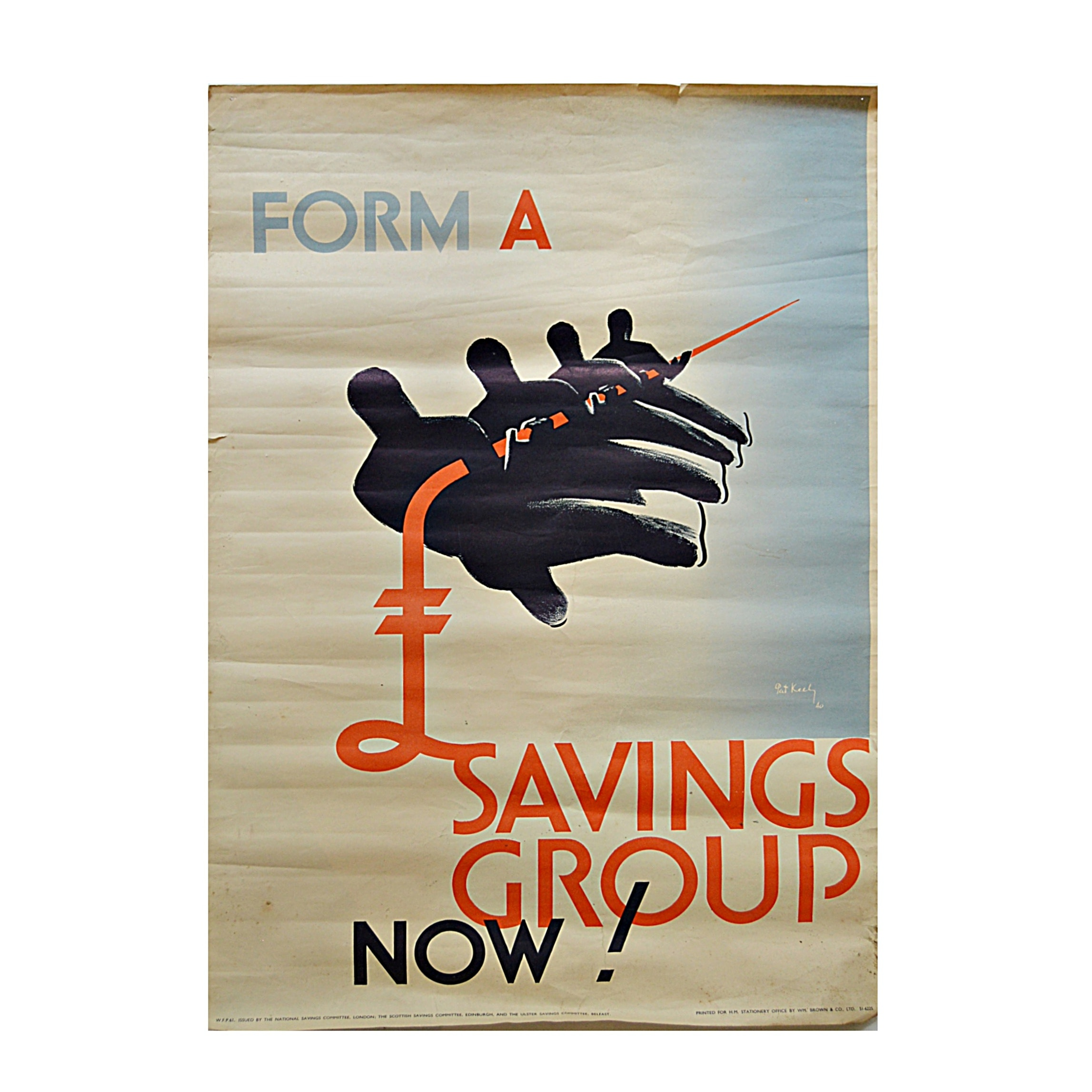 "1940 Pat Keely ""Form A Savings Group Now!"" Poster"