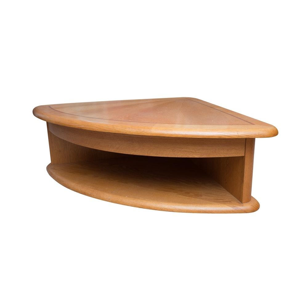 Oak Fan Shaped Convertible Coffee Table
