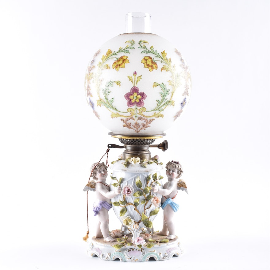 Antique Schierholz Porcelain Oil Lamp with Hand-Painted Baccarat Globe