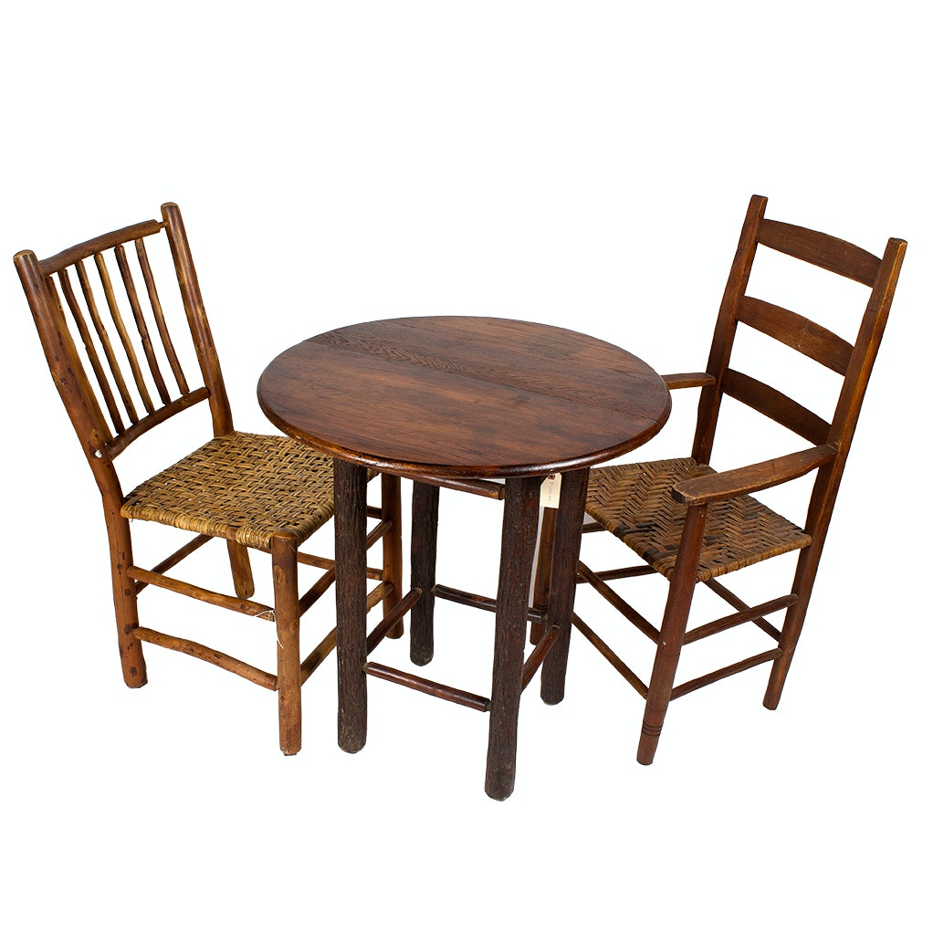 Rustic Table and Chairs with Woven Seats