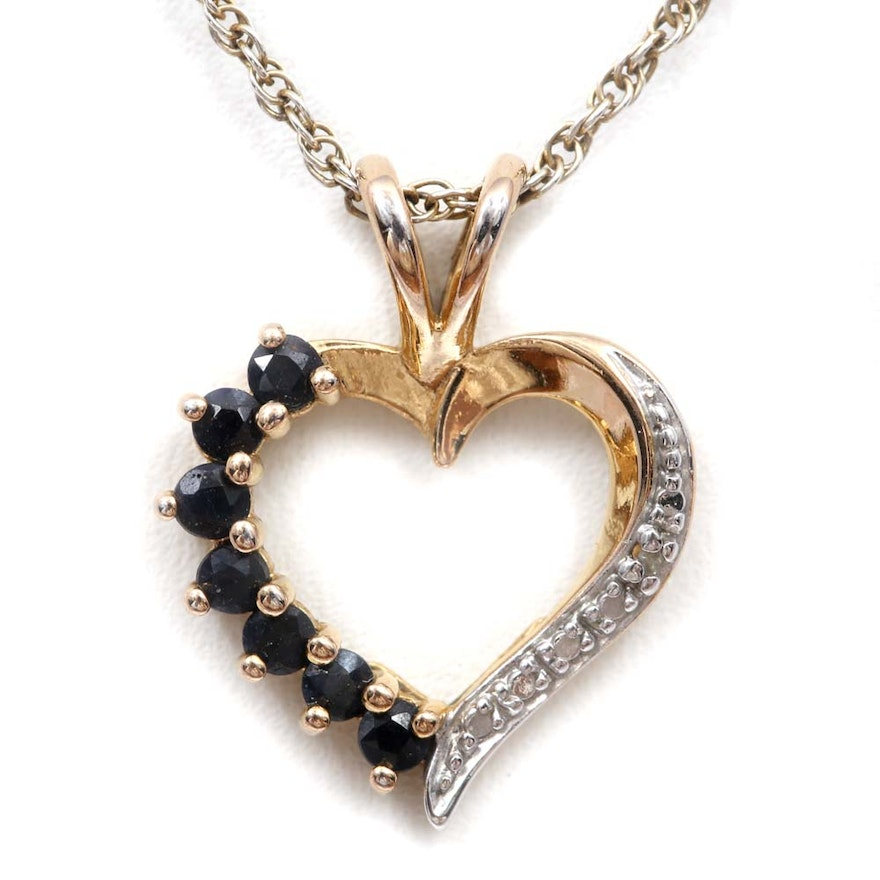 Sterling silver diamond and sapphire heart pendant necklace ebth sterling silver diamond and sapphire heart pendant necklace aloadofball Image collections