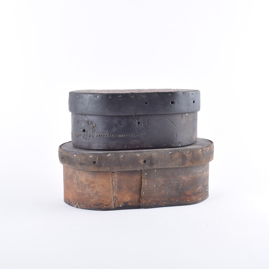 Antique Leather and Wood Shaker Style Boxes