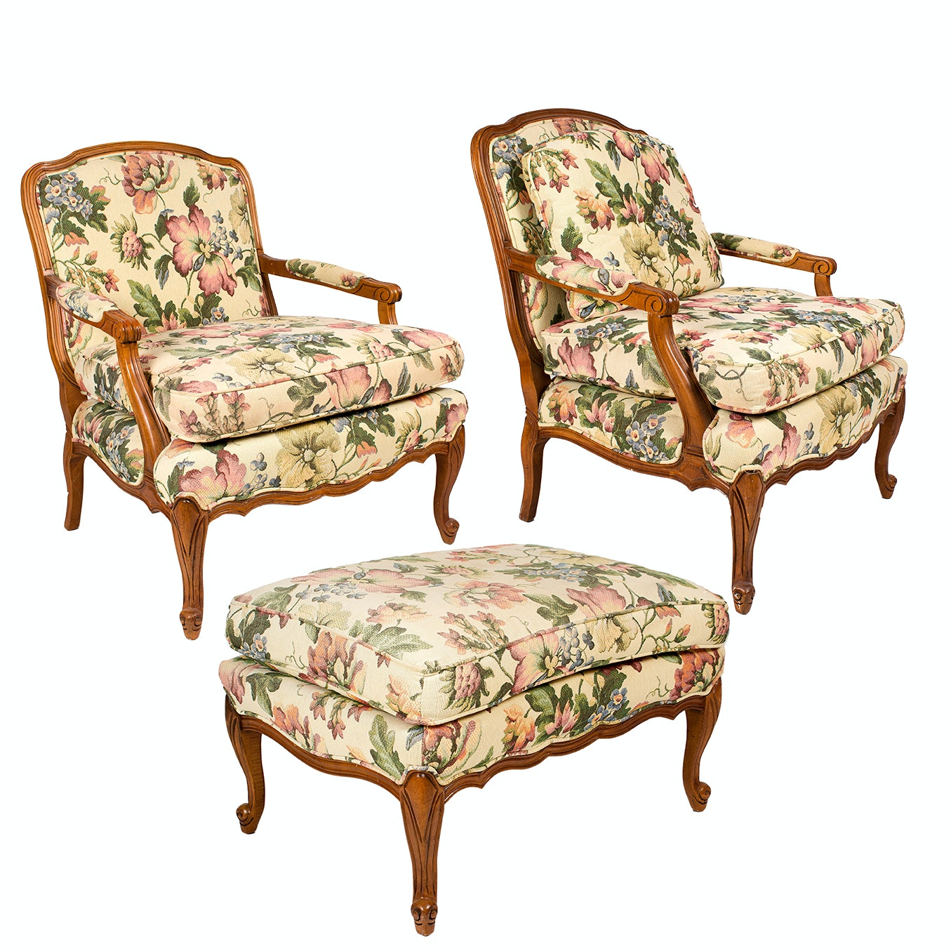 French Provincial Upholstered Armchairs and Ottoman by Sam Moore