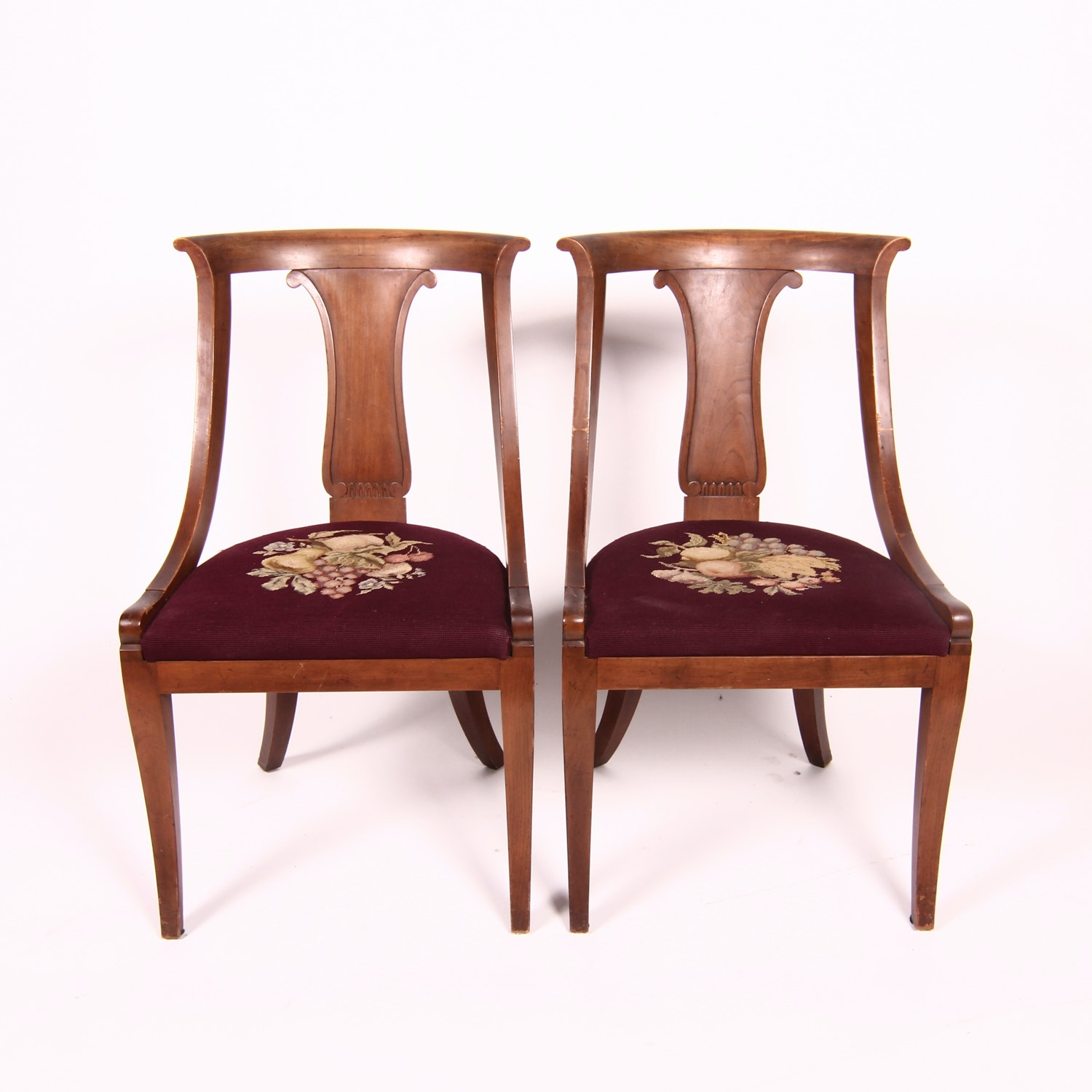 Pair Of Empire Style Gondola Side Chairs