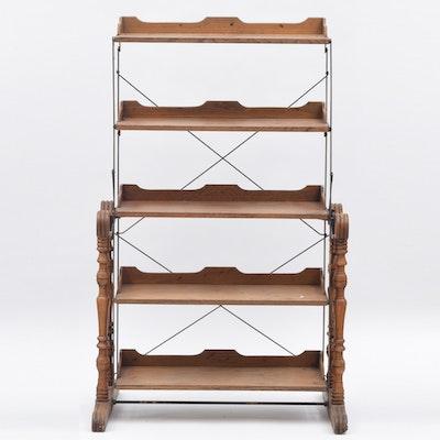 Victorian Oak and Metal Mechanical Shelf
