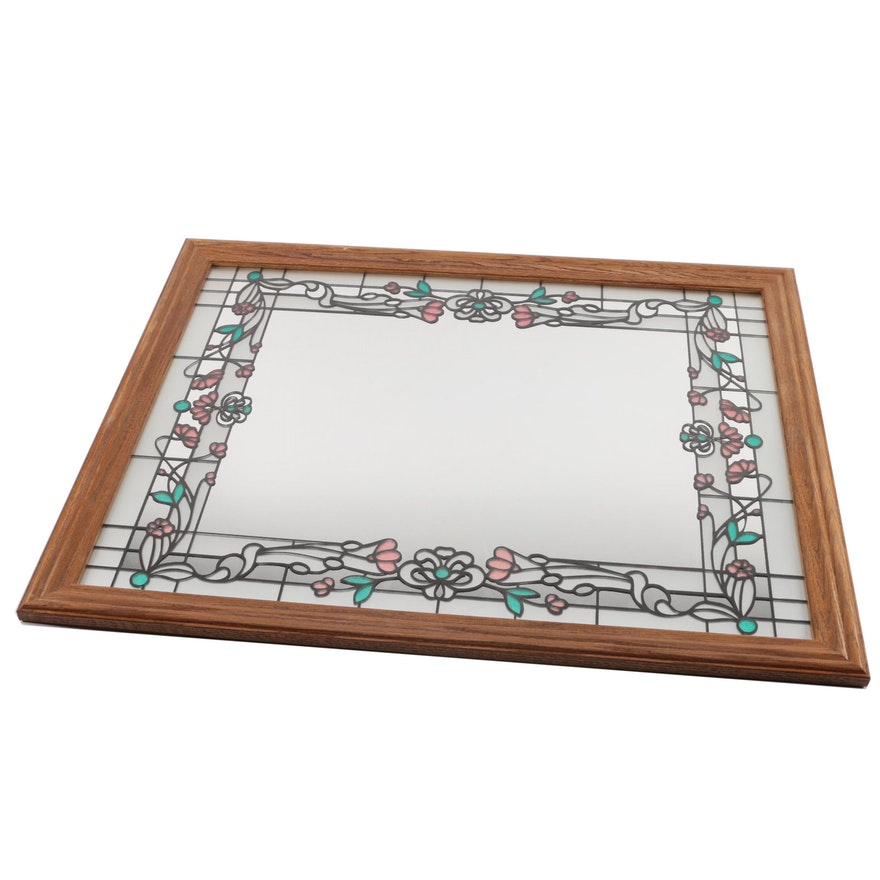 Wood Framed Stained Gl Wall Mirror