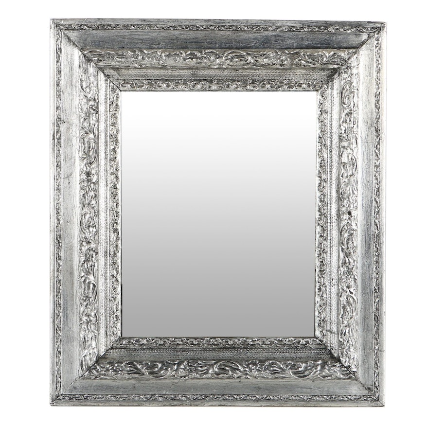 Silver Tone Painted Wood Framed Wall Mirror : EBTH