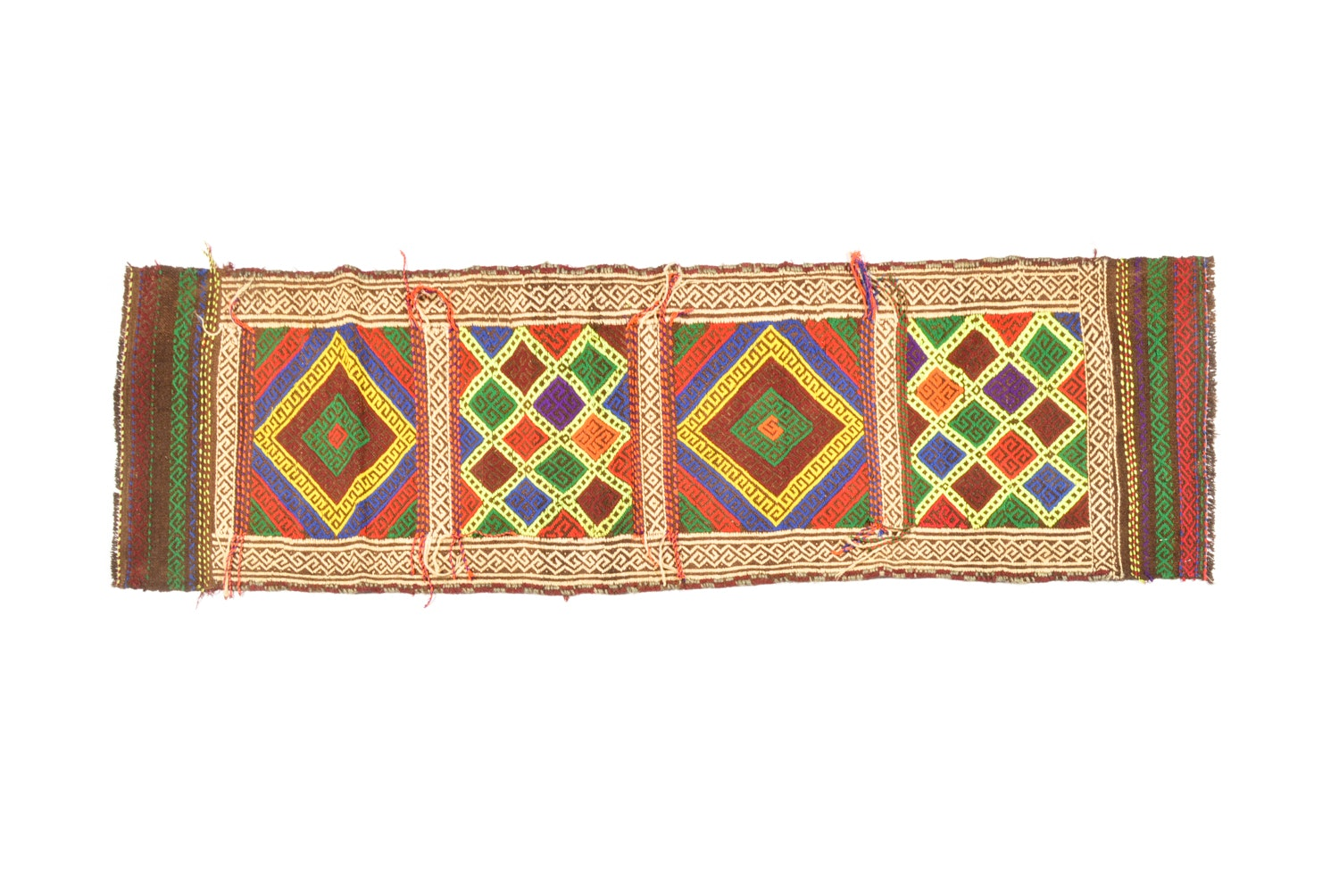 Handwoven and Embroidered Anatolian Carpet Runner