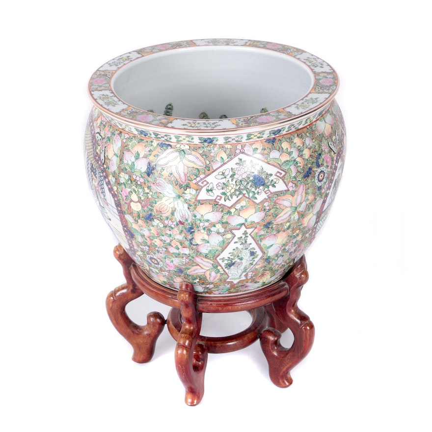 chinese ceramic fish bowl planter with stand ebth. Black Bedroom Furniture Sets. Home Design Ideas